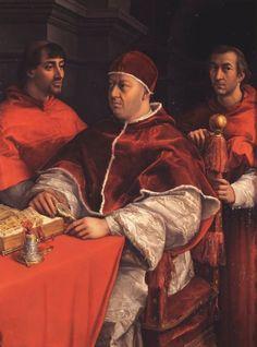 Raphael's portrait of Medici Pope Leo X with Cardinals Giulio de' Medici and Luigi de' Rossi