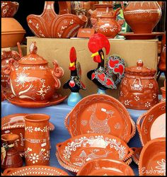 """Crockery at Barcelos Fair, Saint Miguel, Portugal - - - The rooster is the symbol of the town of Barcelos, & their earthenware crockery is famous. """"Faiança"""" is a technique used in Portugal for glazing earthenware & pottery."""