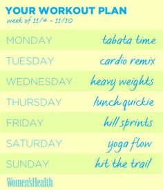 Add these workouts to your calendar NOW to stay on track this week: http://www.womenshealthmag.com/fitness/workout-plans-for-women?cm_mmc=Pinterest-_-womenshealth-_-content-fitness-_-weeklyworkoutplan