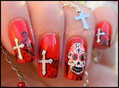 Sugar Skull red Nails uploaded by Di Ana on We Heart It Red Nails, Hair And Nails, Cute Nails, Pretty Nails, Sugar Skull Nails, Cherry Nail Art, Grim Reaper, Easy Nail Art, Perfect Nails