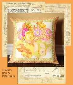 Sewing Tutorial Instructions JPG/PDF File Hearts For Clover Personalized Patchwork Decorative Pillow Case Wedding Special Love Made By You