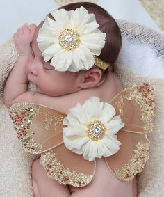 Another great find on #zulily! Brown & Ivory Ruffle Flower Wings & Headband by Lil Miss Sweet Pea #zulilyfinds