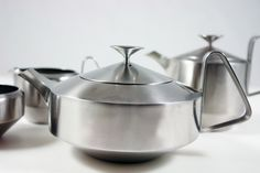 """Old Hall """"Alveston"""" stainless steel tea set.  Made in Bloxwich."""