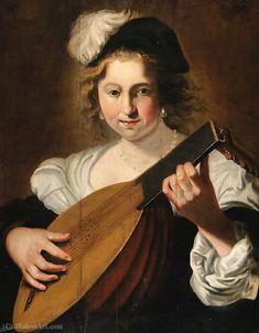 'Une dame jouant du luth' de Christiaen Van Couwenbergh (1604-1667, Netherlands)