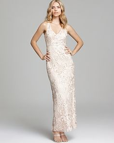 1920s style wedding gown - Sue Wong V Neck Gown - Sleeveless $376.16 AT vintagedancer.com