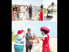 """{ DISNEY CRUISE WEDDING BY WE CALL THIS LOVE } """"It's not every day that Goofy makes an appearance at your wedding! Sake and Jason had a Disney cruise wedding that included a ceremony on the beach at Castaway Cay in the Bahamas and a reception aboard the ship! The couple wanted to keep their wedding as personal as possible, and a Disney wedding was a dream come true. They had no bridal party or traditional wedding details – it was all about celebrating their love..."""""""