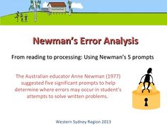 2013 newmans error analysis and comprehension strategies by add4maths via slideshare