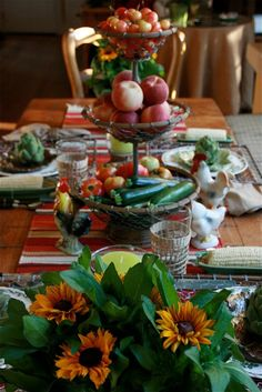 vignette design: Summer's Bounty Tablescape - http://www.vignettedesign.net/