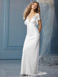 Sheath/Column V-neck Lace Satin Floor-length White Draping Wedding Dresses