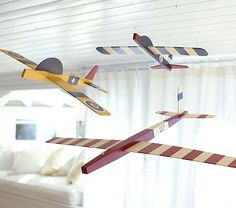 These would be fun to make from scratch. Hanging clipper planes by Pottery Barn Kids.