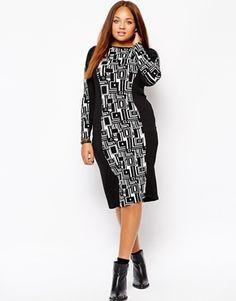 Club L Plus Size Midi Dress With Geo Print Panel - black