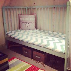 Aqua with mokee bedding - Chevron Cool Grey! by Kitty22