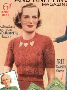 This lovely jumper is is a beautifully wearable 1930s design. A feminine little jumper like this should be in every Spring wardrobe. The pretty leaf pattern, novel neckline and ribbed yoke are all popular features. The beginner in knitting can manage this pattern as all shaping is carried out on the single rib. Finished width: 31 inches around (design is very stretchy, intended for a 32-34 inch bust) Yarn: Fingering weight Needles: 2.25mm and 3.75mm This listing is for the above PDF patte...