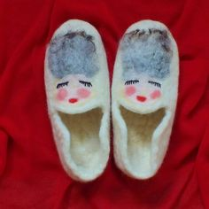 Felt Slippers Natural wool New Zealand Felted slippers Felt Wool House Shoes Sleeping Beauty Made to Order FeltSoapGood Etsy