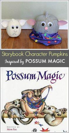 Storybook Character Pumpkins: Grandma Poss and Hush from Possum Magic by Mem Fox