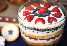 berry trifle-red, white, and blue