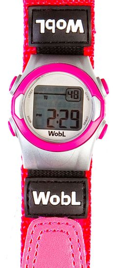 Wobl Watch vibrating alarm watch for day time wetting. Discreet reminder for your child to go to the toilet. Eight Alarm settings and four colours to choose from: Pink, Purple, Blue, Black and Silver.  Visit: www.drydayandnight.co.uk to order and for more information and advice.