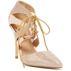 Adding these nude + gold lace-up pumps to our shoe collection!