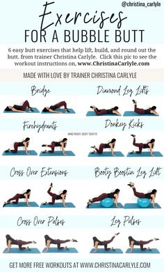 Butt Exercises Butt Exercises,Weight Loss Motivation The best Butt Exercises for women to get a round, perky butt fast without bulking legs from trainer Christina Carlyle christinacarlyle. Life Fitness, Fitness Tips, Health Fitness, Fitness Gear, Fitness Memes, Funny Fitness, Fitness Band, Woman Fitness, Fitness Equipment