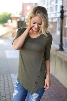 Baby I'm Yours Button Top - Olive – The Pulse Boutique