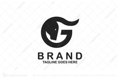 Modern and simple logo of a letter G combined together with a bull. Color is black.