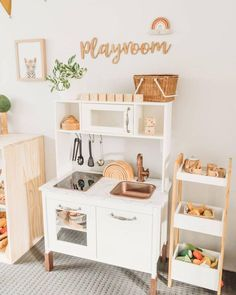 One of my favourite little spots in the playroom 😍 Elijah loves cooking up a storm here! Play kitchens have got to be one of my favourite toys for imaginary play! Watching Elijah's imagination burst with creativity as he plays here is just the best ❤ Montessori Playroom, Toddler Playroom, Ikea Kids Playroom, Children Playroom, Modern Playroom, Little Girls Playroom, Family Room Playroom, Colorful Playroom, Toddler Toys