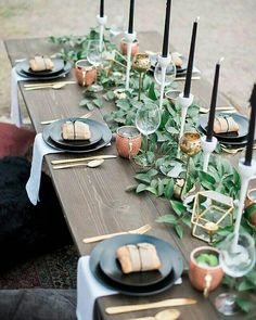 Gold And Black Table Setting. Super Classic And Reusable. Photo