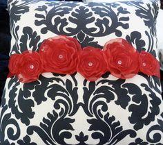 Red flowers on sash