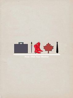 Suitcase (Marshall) paintbrush (Lilly) red cowboy boots (Ted) maple leaf (Robin) tie (Barney)