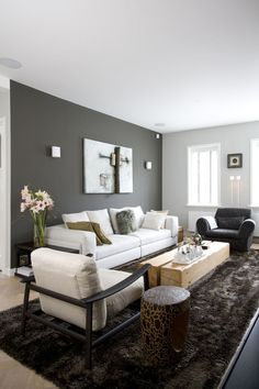 gray accent wall living room