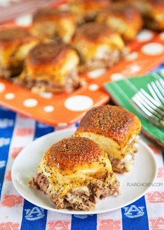 Party Roast Beef Sandwiches - CRAZY good! We are totally addicted to these sandwiches!! Hawaiian rolls, roast beef, white american cheese, topped with butter, brown sugar, horseradish sauce, worcestershire sauce and poppy seeds. These things go fast! I always double the recipe. They are also good reheated!