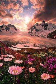 Sunset, Boundry Range, Alaska photo via susan~Looks so gorgeous! I want to go back to Alaska Beautiful World, Beautiful Places, Beautiful Pictures, Amazing Places, Beautiful Sunset, Beautiful Flowers, Amazing Sunsets, Beautiful Beautiful, Beautiful Gardens