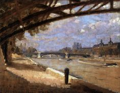 PAULSEN, Julius Danish painter (b. Odense, d. København) Under the Pont des Arts, Paris 1910 Copenhagen Denmark, Large Art, Art Reproductions, Impressionism, Beautiful Images, Art For Sale, Oil On Canvas, Museum, Danish