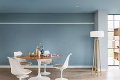 Contemporary living and dining room painted in Denim Drift, Borrowed Blue, Earl Blue and Sash Blue Dulux paint Dulux Paint Colour Of The Year, Color Of The Year 2017, Wall Paint Colors, Room Colors, Dulux Paint Colours Living Room, Dulux Paint Colours Blue, Paint For Kitchen Walls, Dining Room Paint, Denim Drift Dulux Paint