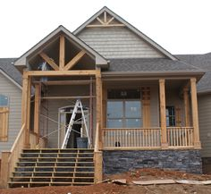 Cedar porch columns - Columns adds so much to a house. Can you imagine what the white house would look without majestic columns? Br House, House With Porch, House Front, Small Front Porches, Front Porch Design, Porch Designs, Front Porch Addition, Front Porch With Columns, Wood Columns Porch