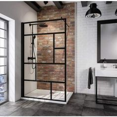 Sub Walk In Black Cube 120 x 200 cm, matzwart profiel Bathroom Interior, Modern Bathroom, Small Bathroom, Tile Bathrooms, Bad Inspiration, Bathroom Inspiration, Walk In Shower Screens, Design Your Home, Bathroom Styling