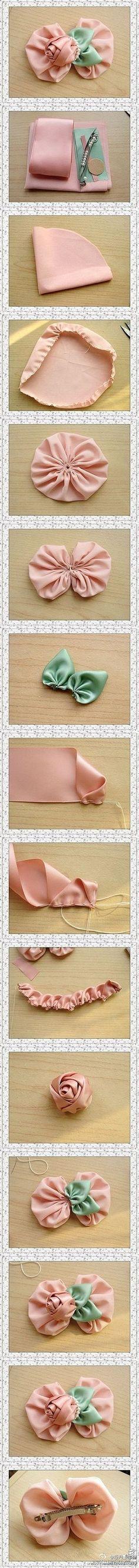 Pink roses hairpin DIY.
