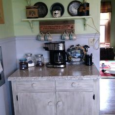 Super cute corner coffee bar in this small area of a kitchen.  LOVE it!