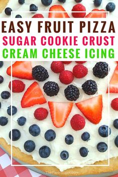 Easy fruit pizza recipe with a sugar cookie crust and cream cheese. This is so g… Easy fruit pizza recipe with a sugar cookie crust and cream cheese. We made it with strawberries and more, but you could use almost any kind of fruit. Sugar Cookie Pizza, Cream Cheese Sugar Cookies, Easy Sugar Cookies, Cookie Crust, Sugar Cookies Recipe, Pizza Cookies, Strawberry Pizza, Strawberry Recipes, Fruit Recipes
