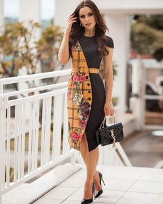 Plus size women navy blue a-line going out sleeve elegant paneled dress. Moda Afro, Casual Dresses, Short Dresses, Dresses Dresses, African Wear Dresses, Batik Fashion, Batik Dress, Curvy Women Fashion, Plus Size Women