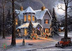 Cosy house covered with snow in a silent street. Red car and a snow man in front. I added falling snow and a border to it. DF.