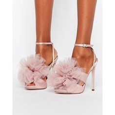 ASOS HYACINTH Heeled Sandals (€61) ❤ liked on Polyvore featuring shoes, sandals, beige, asos sandals, high heeled footwear, ankle strap shoes, peep-toe shoes and beige sandals