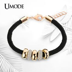 UMODE Simple Slide Beads Designer Austrian Rhinestones Gold Plated Rope Charm Bracelets Chain Lobster Jewelry for Women UB0074