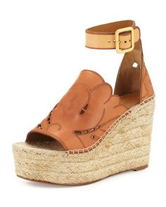 Tooled+Leather+Wedge+Espadrille+Sandal,+Marron+Glace+by+Chloe+at+Neiman+Marcus.