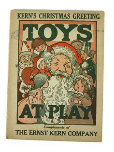 1920s Kern's Christmas Greeting Toys Santa Claus Headquarters Detroit Booklet
