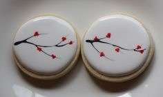 Cherry Blossom Cookies - another nice design Blossom Cookies, Tree Cookies, Flower Cookies, Easter Cookies, Fun Cookies, Cupcake Cookies, Sugar Cookies, Decorated Cookies, Cupcakes