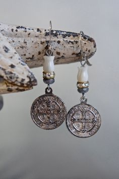 Vintage assemblage earrings St Benedict medals by frenchfeatherdesigns on Etsy