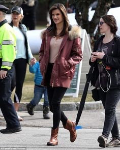 Upgrade your outerwear with a satin bomber like Alessandra. Click 'Visit' to buy now. #DailyMail