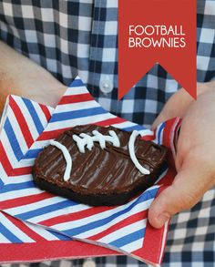 "Perfect for tailgating - football brownie. I foresee myself making these for my future husband's ""Sunday with the boys"" (OOH AND IN HOCKEY PUCKS FOR ME lol)"