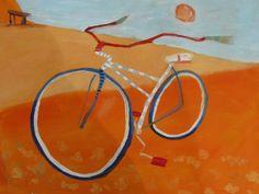 Red and White Bike Bicycle  acrylic handmade by ArtandBrushes, $139.00